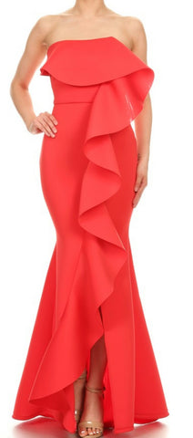 Solid Ruffle Flex Gown