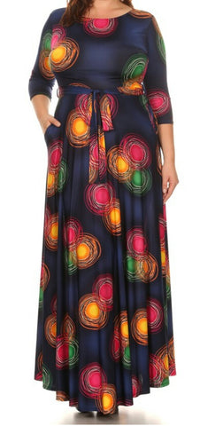 Navy Illusion Maxi Dress (L-3XL)