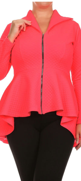 Cascading Peplum Jacket (available in red & pink)