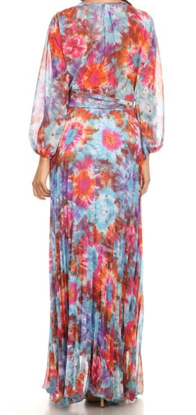 Blue Floral Pleated Maxi