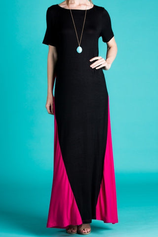 Short Sleeve Color Block Maxi Dress Dress (S-XL)