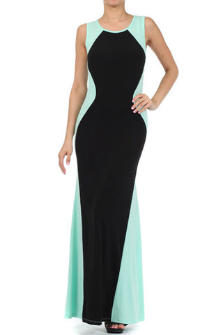 Sleeveless Color Block Maxi Dress Dress (S-L)