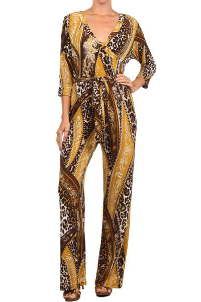 Animal Print Jumpsuit w/belt