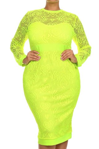 Lime Crochet Midi Dress (Plus Size)