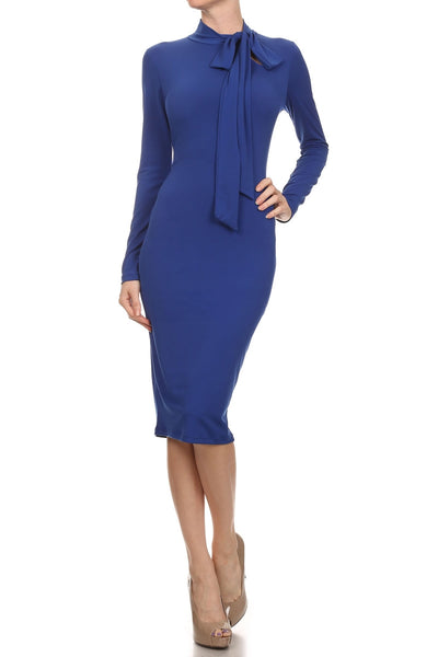 Mockneck Tie Bodycon Dress (other colors available)