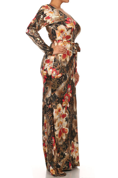 Floral Leopard Print Mermaid Maxi With Train -1 LEFT