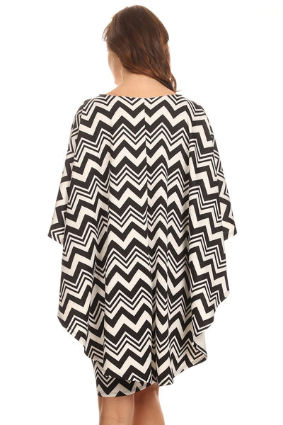 Chevron Print Short Cape Dress