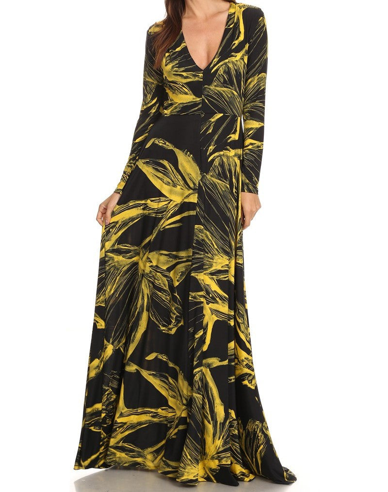 Abstract Floral Maxi Dress (other colors available)