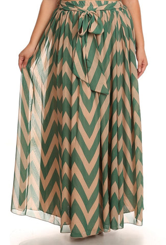 Green Chevron Print Maxi Skirt