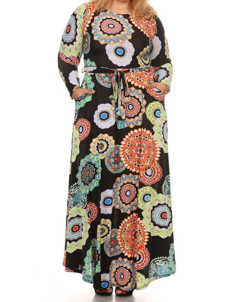 Paisley Burst Maxi Dress (L-3XL available in other colors)