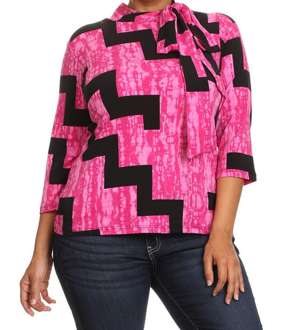 Staircase Print Mock Neck Top w/Tie (L-3XL) SOLD OUT!