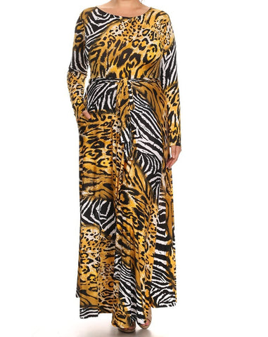 Animal Print Maxi Dress (L-3XL)