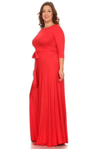 Red Solid Maxi Dress (L-3XL)