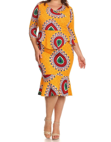 Yellow Ethnic Peplum Dress (Sizes 12-20)