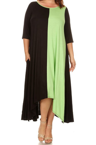 Color Block Relaxed Hi-low Dress (1XL-4XL) other colors available