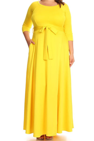 Solid Yellow Maxi Dress (L-3XL)