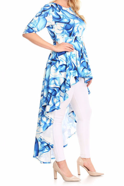 Abstract Print Peplum Body Top (L-3XL) OTHER COLORS AVAILABLE