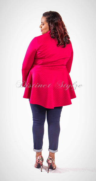 Cascading Peplum Jacket (AVAILABLE IN PINK ONLY)