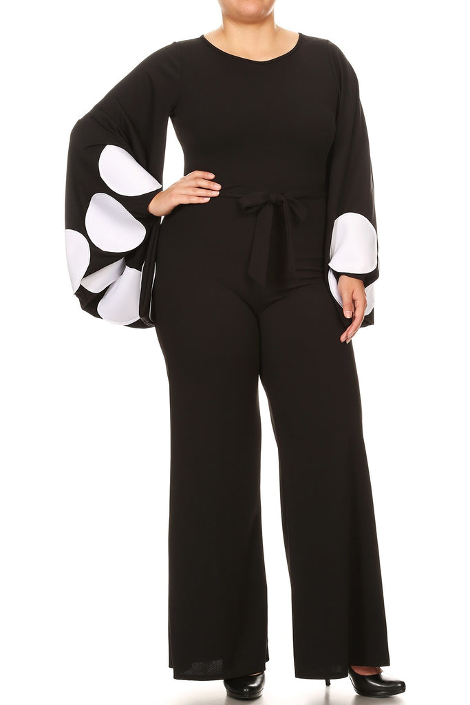 Plus Jumpsuit with Bell sleeves. (XL-3XL)