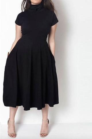 Turtleneck Skater Dress (S-3XL)