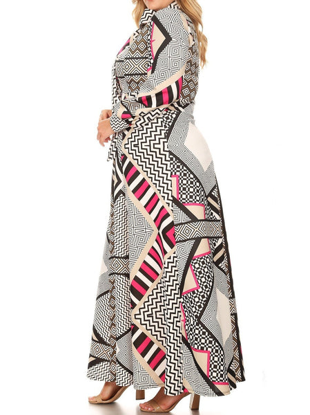 Abstract Print Victorian Dress