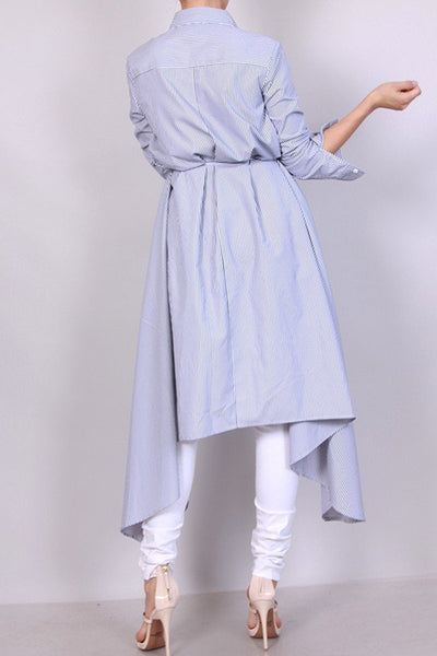 Hi-low Collar Shirt-Dress (S-M)