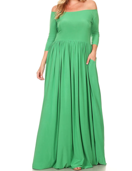 Off-Shoulder Maxi Dress (XL-3XL) available in other colors