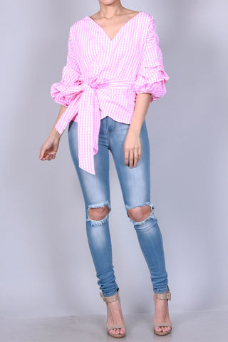 Pink Mock Wrap Shirt (S-L)