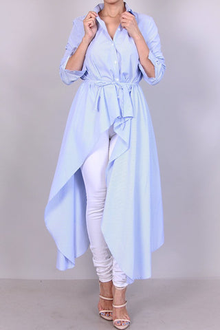 Hi-low Collar Shirt-Dress