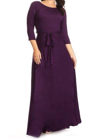 Plum Solid Maxi Dress (L-2XL)