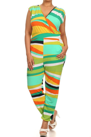 Green Abstract Jumpsuit-Plus Size (Clearance)