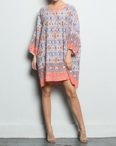 Coral Aztec Print Shirt Dress (Clearance)