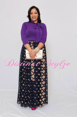 Navy Diamond Maxi Skirt