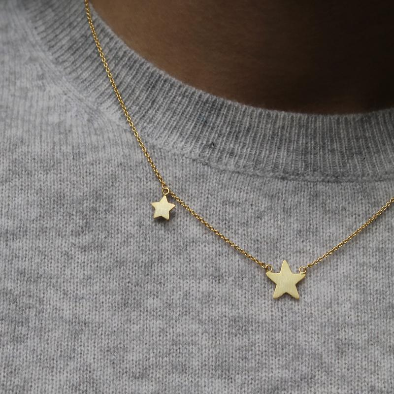 Gold Double Star Necklace - Mary-K