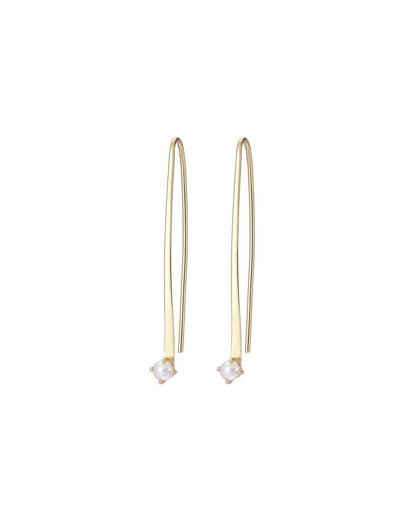 Gold Curved Bar Earrings with Seed Pearl