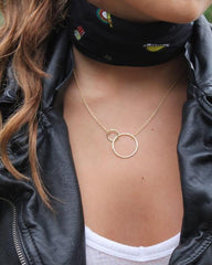 Gold Large 2 Circle Necklace - Mary-K