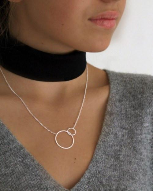 Silver Large 2 Circle Necklace - Mary-K
