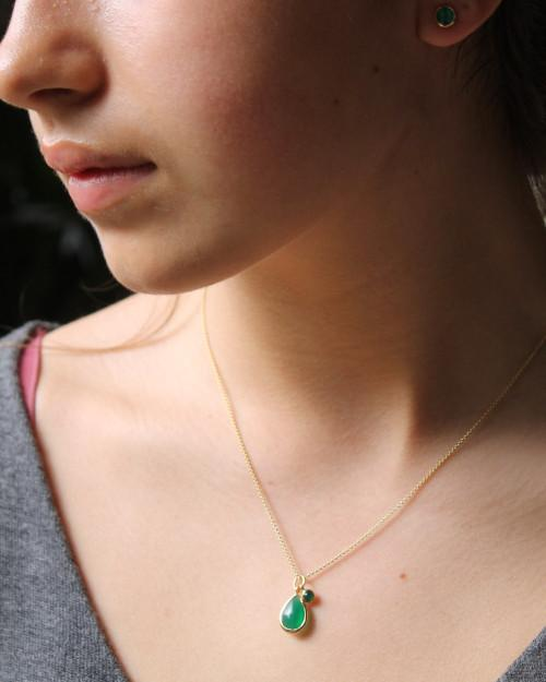 Green Onyx Teardrop Necklace - Mary-K