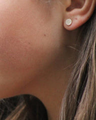 Gold Pave Disc Stud Earrings