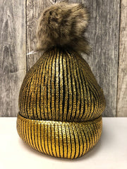 Hat Metallic Gold Bobble