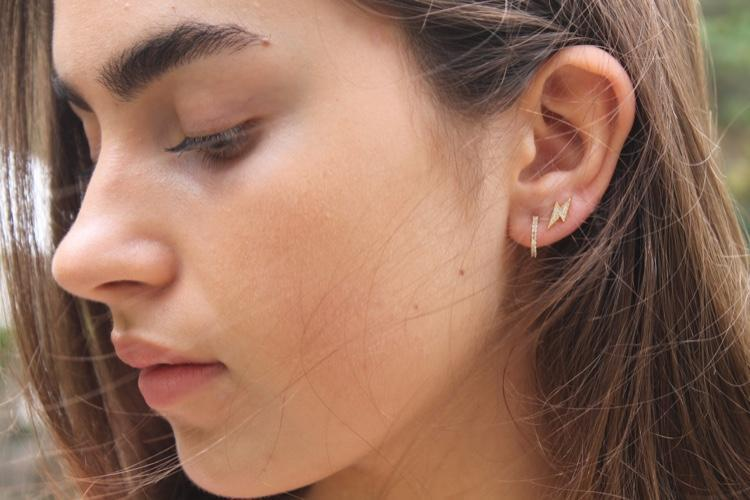 Gold Pave Mini Hoop Earrings - Mary-K