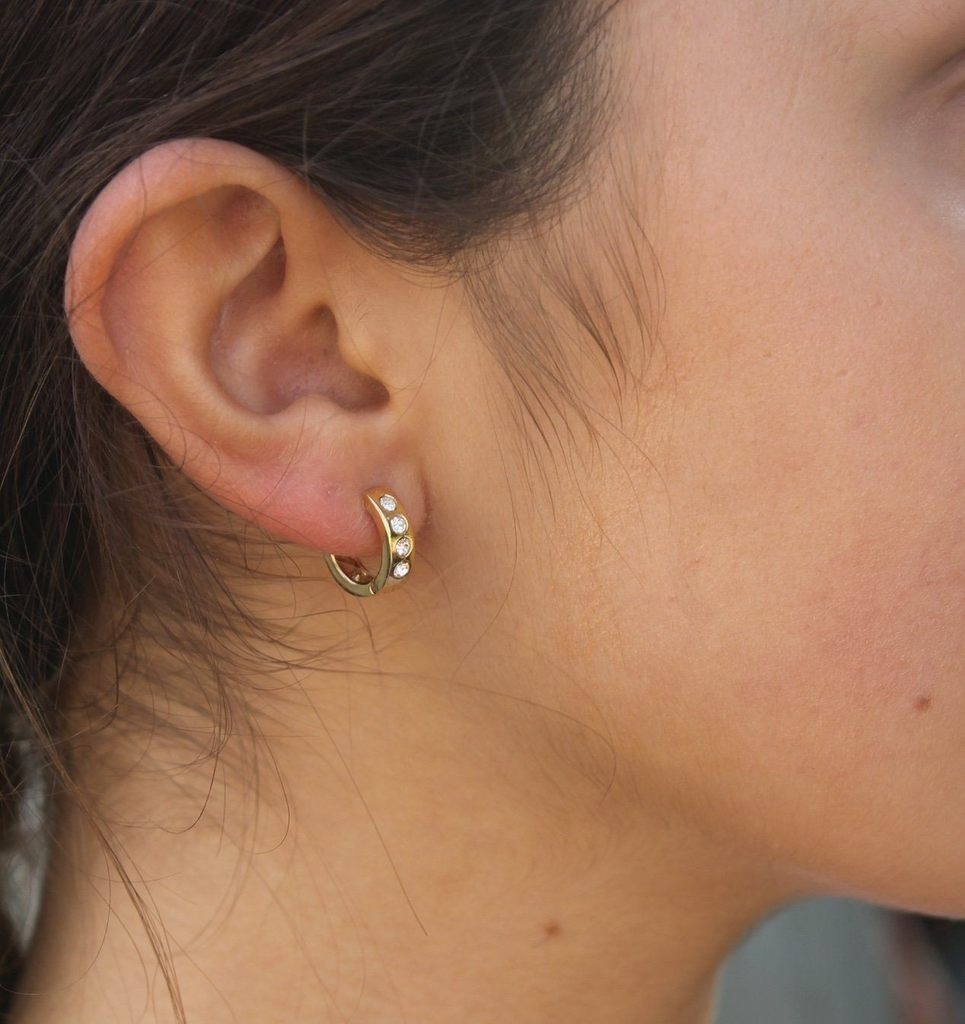 Gold Chunky CZ Hoop Earrings