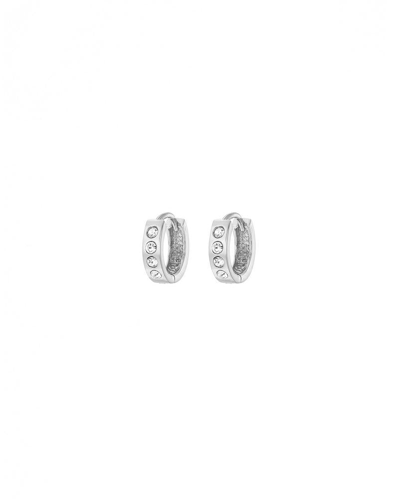 Silver Chunky CZ Hoop Earrings