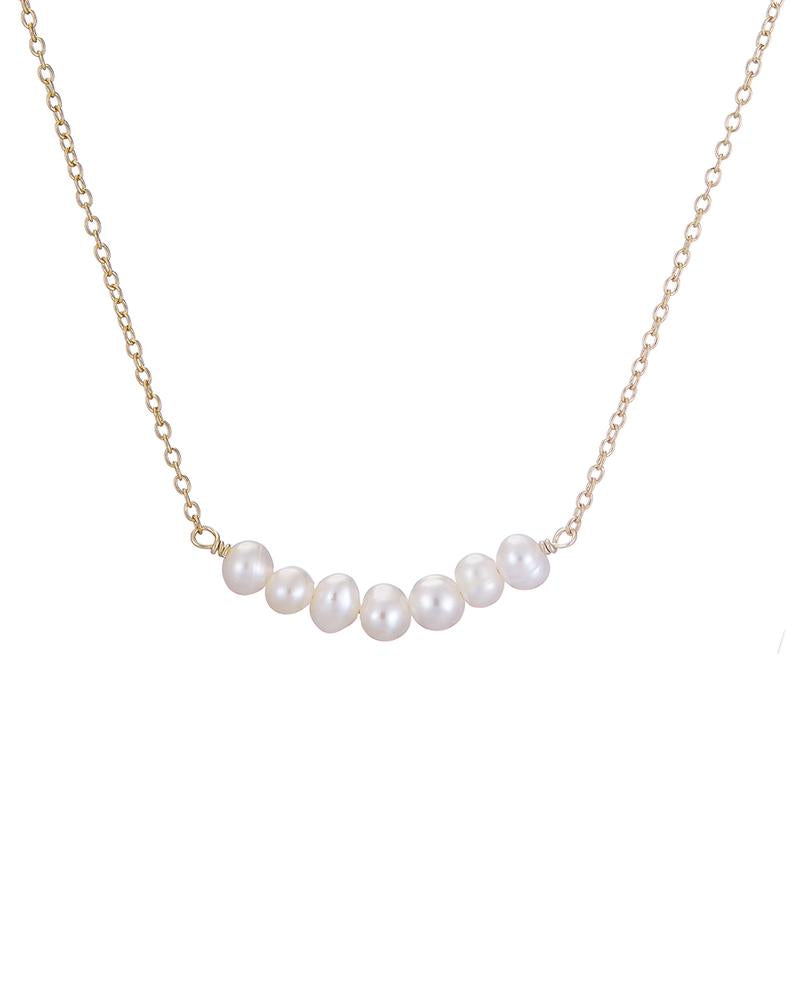 Gold Row Of Pearls Necklace - Mary-K