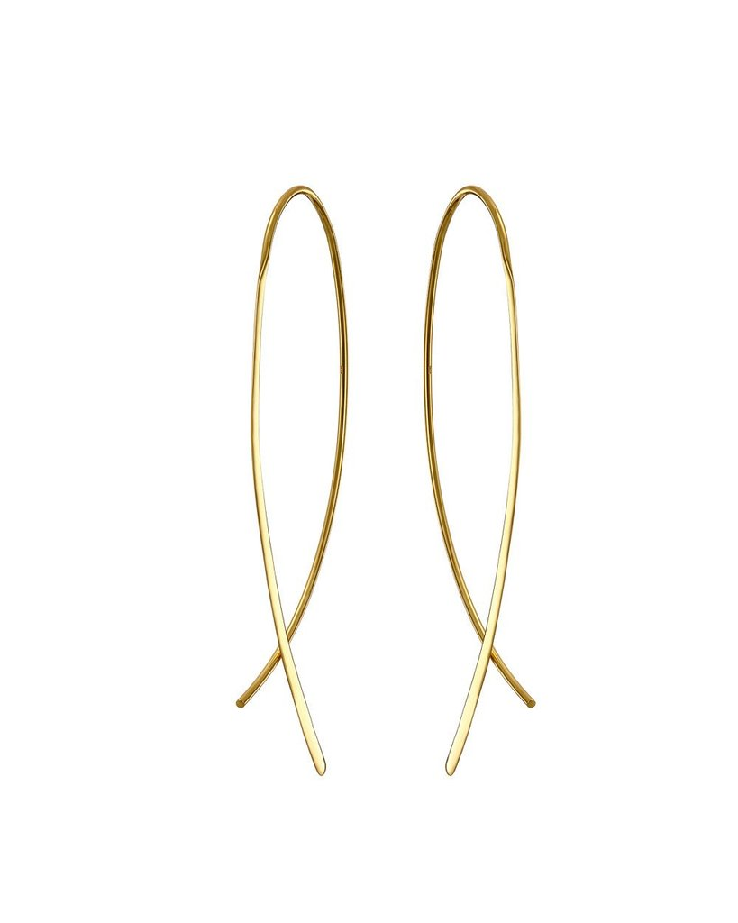 Gold Crossover Earrings - Mary-K