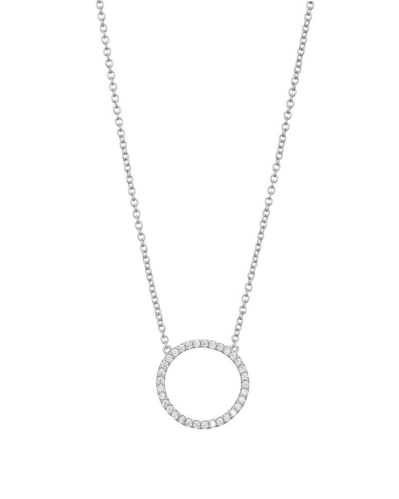 Mary K Silver Pave Circle Necklace