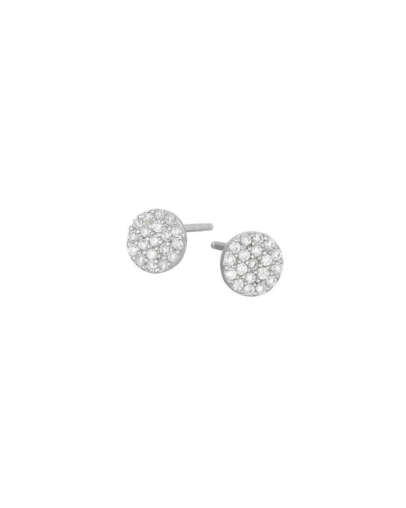 Silver Pave Disc Stud Mary K Earrings