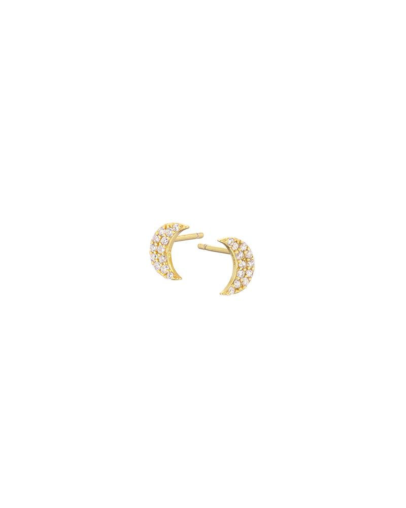 Gold Pave Crescent Moon Stud Earrings