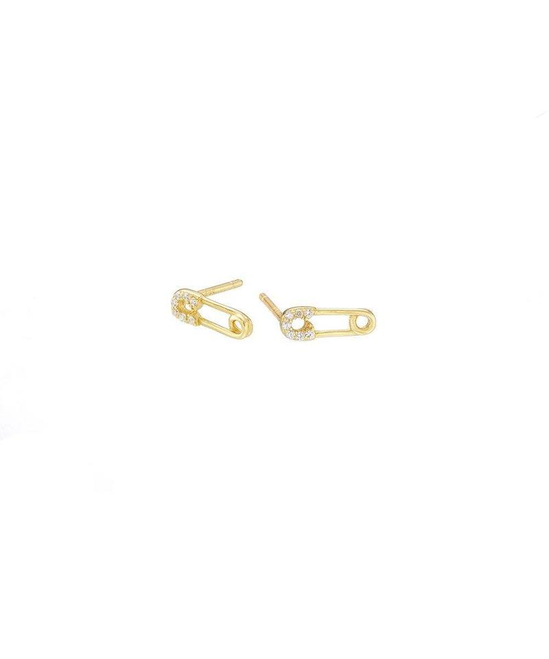 Gold Safety Pin Pave Studs