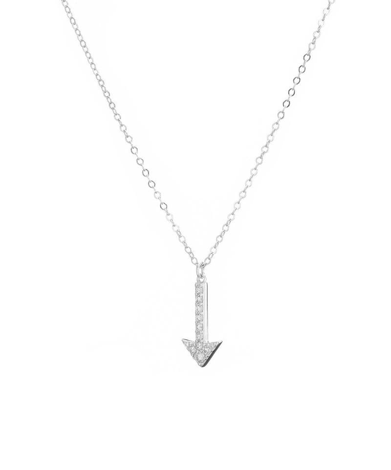Silver Pave Arrow Necklace